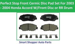 Front Ceramic Brake Pads Fit for 2003 2004 Honda Accord L4 w/Ft Dis or RR Drum