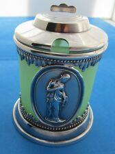 Victorian Silver Plate Medallion Mustard Jar w/Original Green Satin Glass Liner