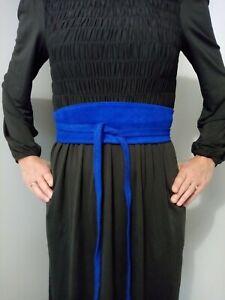 Ceinture Large En cuir veritable Pour Femme Style ObI ,a nouer, bleu DUR