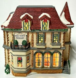 Vintage Mid-Town Primary School Porcelain Light-Up Christmas Village Building