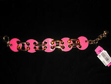 BETSEY JOHNSON 60's MOD RETRO LARGE PINK AND GOLD CIRCLES AND CHAIN  BRACLET