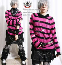 Punk Ladder Sweater Knit Pullover HOT PINK NEON Stripe