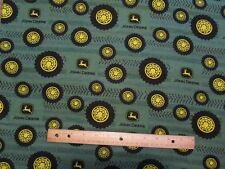 2 Yards Green John Deere Tires/Tire Tread Flannel Fabric