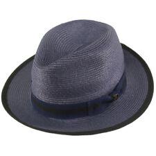 """Dapper Men's Summer Light Panama Derby Fedora Wide 2-1/4"""" Brim Sun Hat Navy S/M"""