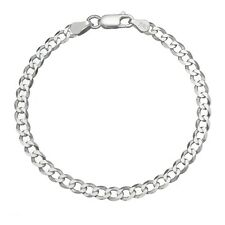 Solid 925 Sterling Silver Men's Italian 7mm Cuban Curb Link Chain Bracelet