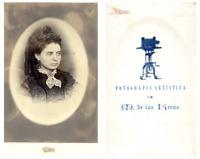 M. de las Keras, Portrait d'une dame CDV vintage albumen carte de visite,