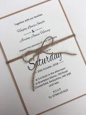 10 x Handmade Personalised Rustic Twine Wedding Invitations