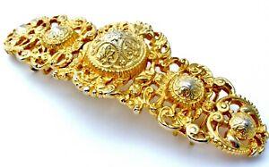 "6"" Large Accessocraft Belt Buckle Ladys Signed Fashion Statement NYC Gold Tone"