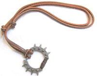 Mens Round METAL PUNK RIVETS SPIKES on Adjustable Leather Pendant Biker NECKLACE