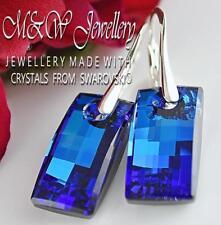925 STERLING SILVER EARRINGS 20MM URBAN BERMUDA BLUE - Crystals from Swarovski®