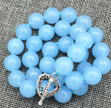 10MM light blue Brazilian Aquamarine round gemstone necklace 18 ""