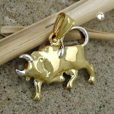 375 Goldanhänger Sternzeichen Anhänger 16x23mm Stier bicolor 9Kt GOLD