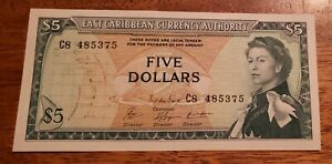 East Caribbean States PK# 14g ND(1965) 5 Dollar Uncirculated Banknote