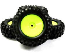Roues, pneus, jantes et moyeux verts HSP pour véhicule radiocommandé 1/10