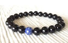 Men's Black Obsidian & Lapis Lazuli Protection Beaded Bracelet Chakra Mala Yoga