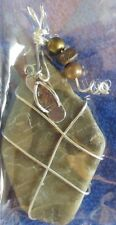 "Petoskey Stone Handcrafted Pendant With Sandal Dangle 3"" long"
