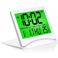 Betus Digital Travel Alarm Clock - Foldable Calendar Battery Operated (Silver)