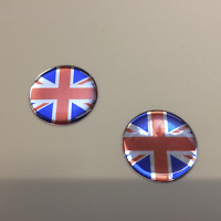 Domed Resin Gel Stickers - UNION JACK Stickers x 2 - 30mm dia  Exterior Use