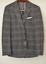 Hugo Boss Hadley4 Men's Flannel Med Grey Glen Plaid 40R Wool/Cotton Sport Coat