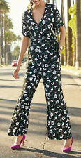 New NEXT Size 8 Black Floral Print Wrap Jumpsuit RRP £50 Summer Party Holiday