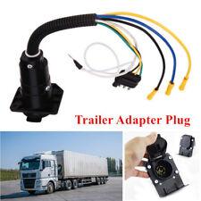 Trailer Plug 4-Way Flat to 7 Way Round RV Blade Wiring Adapter Car Hitch&Bracket