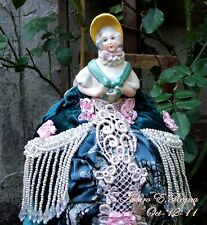 Antique German China Half Doll Pin Cushion Yellow Bonnet Artisan Treasure Box