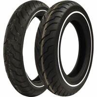 130/80 17, 180/65 16 Dunlop American Elite Narrow White Wall Tire Kit