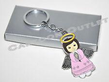 12 X BAPTISM KEY CHAINS BAUTIZO RECUERDOS GIRL PINK ANGEL KEEPSAKE CHRISTENING