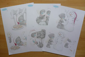 3 sheets tatty teddy xmas decoupage-all different-11 packs to choose - A4