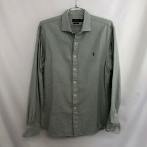 Polo Ralph Lauren Men's Flannel Shirt Sz XL Slim Fit Gray White Check