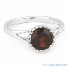 1.71ct Round Cut Garnet & Diamond Halo Engagement Promise Ring in 14k White Gold