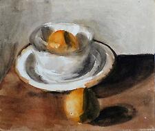 Stillleben: SCHALE UND ORANGEN Aquarel Malerei Original-Kunstwerk 31X27 cm KUCHE