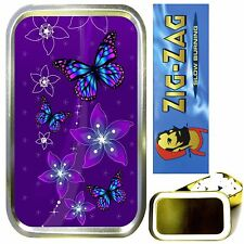 PURPLE BUTTERFLIES SMOKING SET, GOLD 1oz TOBACCO TIN, ROLLING PAPERS & FILTERS