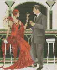 Counted Cross Stitch ART DECO Couple Drinking - COMPLETE KIT - No.1-58 KIT