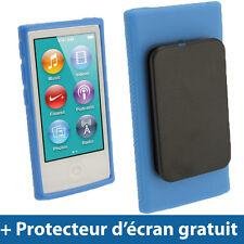 Bleu Étui Coque 'Clip'n'Go' TPU pour Nouveau Apple iPod Nano 7ème Gén 7G 16GB