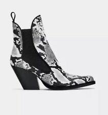 Zara Western Cowboy Snakeskin Ankle Boots new Size 6