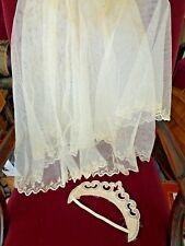 Vintage Ivory Beaded Bridal Headpiece & Net Veil Embroidered Edging