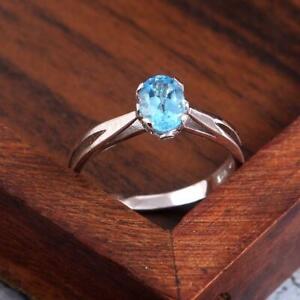 Natural Blue Topaz Band 5x7 mm Oval Swiss blue topaz Ring November Birthstone