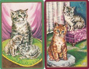 Vintage/ Art Deco/Swap card/ Playing card Cat Beautiful pair