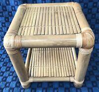Table d'appoint Vintage En Bambou Clair H 45 L 46 l 45 Cm #27