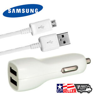 OEM Original Samsung Data Cable + Dual USB Car Charger For Samsung Galaxy S3 S4