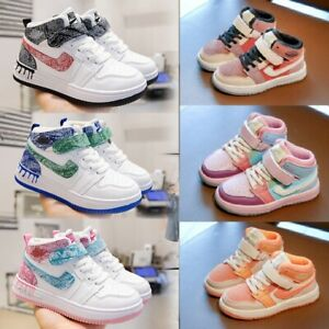 Boys Girls High Top Sports Shoes Running Trainers Casual Sneakers Slip On Size