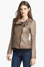 Soia & Kyo Taupe/Brown Moto Leather Jacket - XS