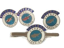 Cyprus Veteran Cufflinks, Lapel Badge, Tie Clip Gift Set