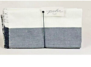 Pehr Designs Chambray Fringe Napkins Set Gray & White 18X18  New In Package