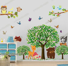Huge Woodland Animals Blossom Tree Wall Stickers Decal Art Paper Nursery Decor