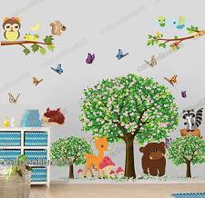 Huge Woodland Animals Blossom Tree Wall Stickers Decal Art Paper Nursery Decor