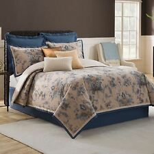 Bridge Street Cordelia Comforter Set 4pc Floral Blue/Taupe KING Brand New