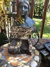 VINTAGE BRASS AND STONE  Birds Nest Sculpture DATED 72?  JERE?   - ESTATE