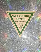 Vintage Welcombe Hotel Trincomalee Luggage Sticker Label